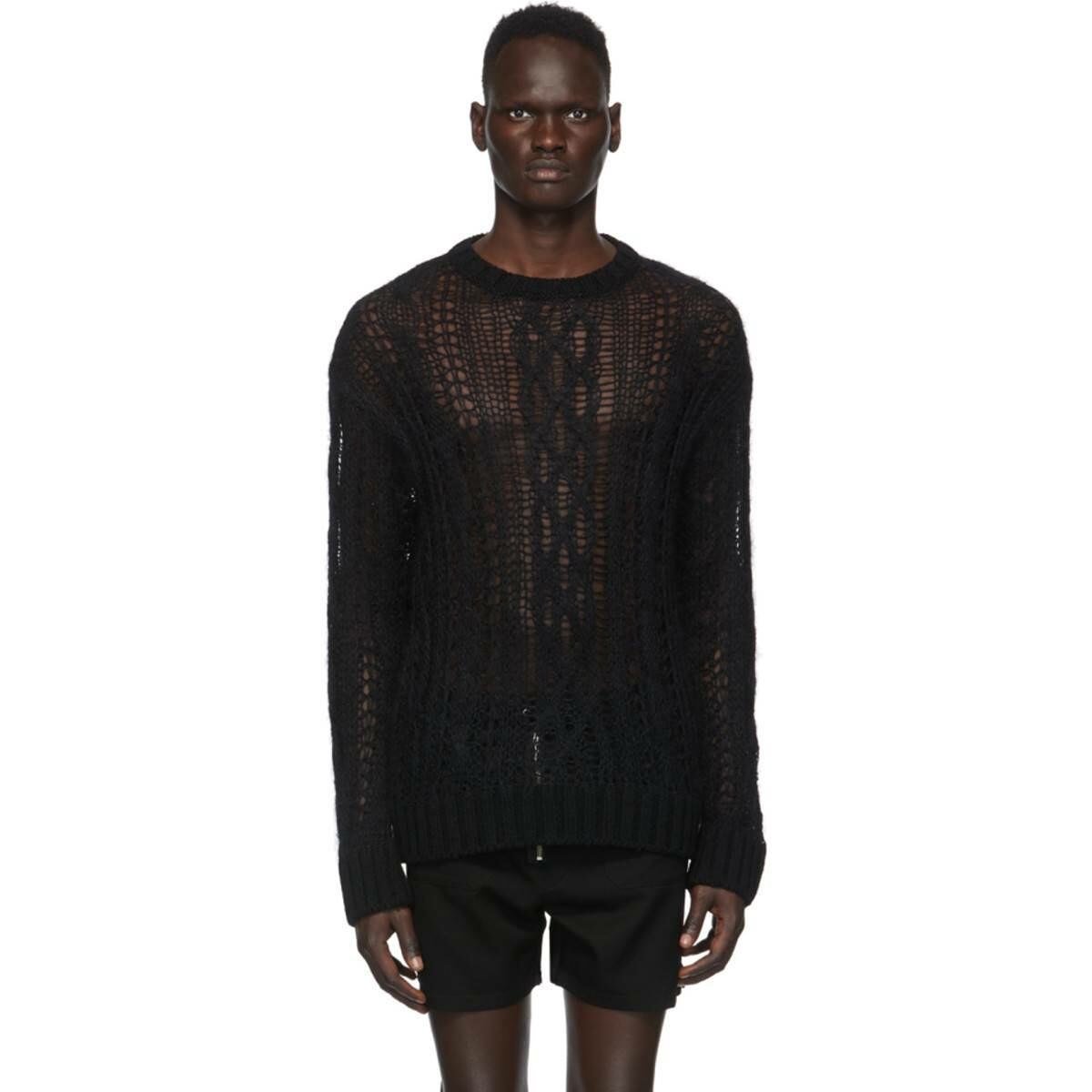 TAKAHIROMIYASHITA TheSoloist. Black Wool Aran Sweater Ssense USA MEN Men FASHION Mens KNITWEAR