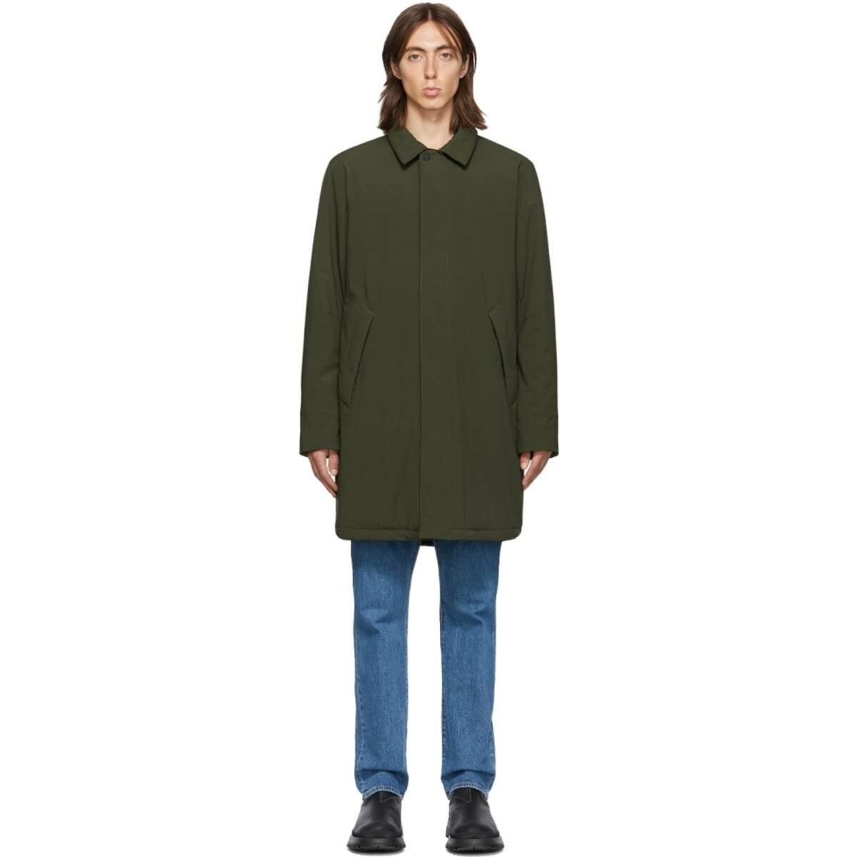 The Very Warm SSENSE Exclusive Khaki Shell Filled Mac Coat Ssense USA MEN Men FASHION Mens COATS