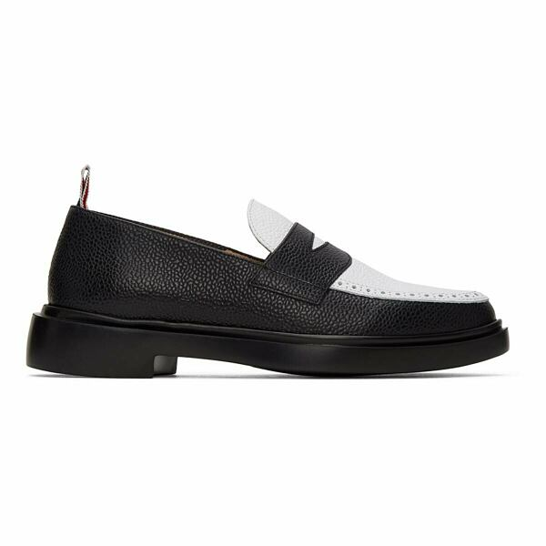 Thom Browne Black and White Penny Loafers Ssense USA MEN Men SHOES Mens LOAFERS
