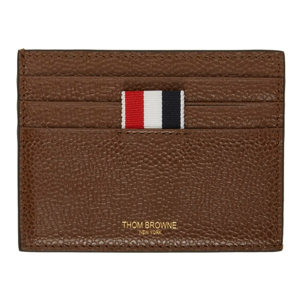 Thom Browne Brown Double Sided 4-Bar Card Holder Ssense USA MEN Men ACCESSORIES Mens JEWELRY