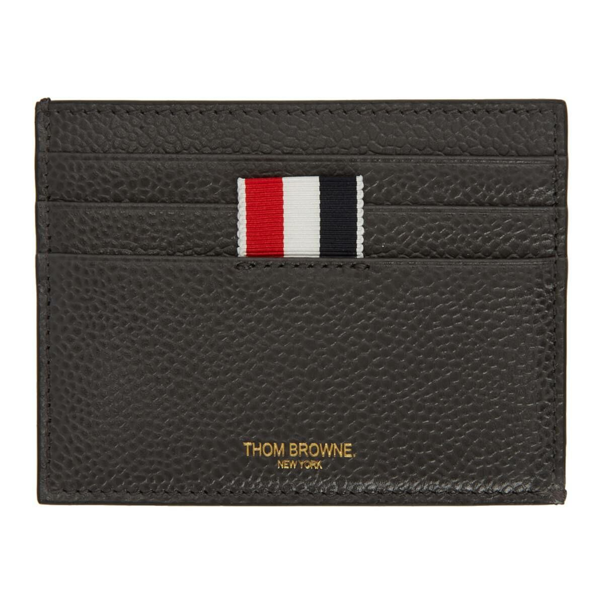 Thom Browne Grey 4-Bar Blind Emboss Note Compartment Card Holder Ssense USA MEN Men ACCESSORIES Mens JEWELRY