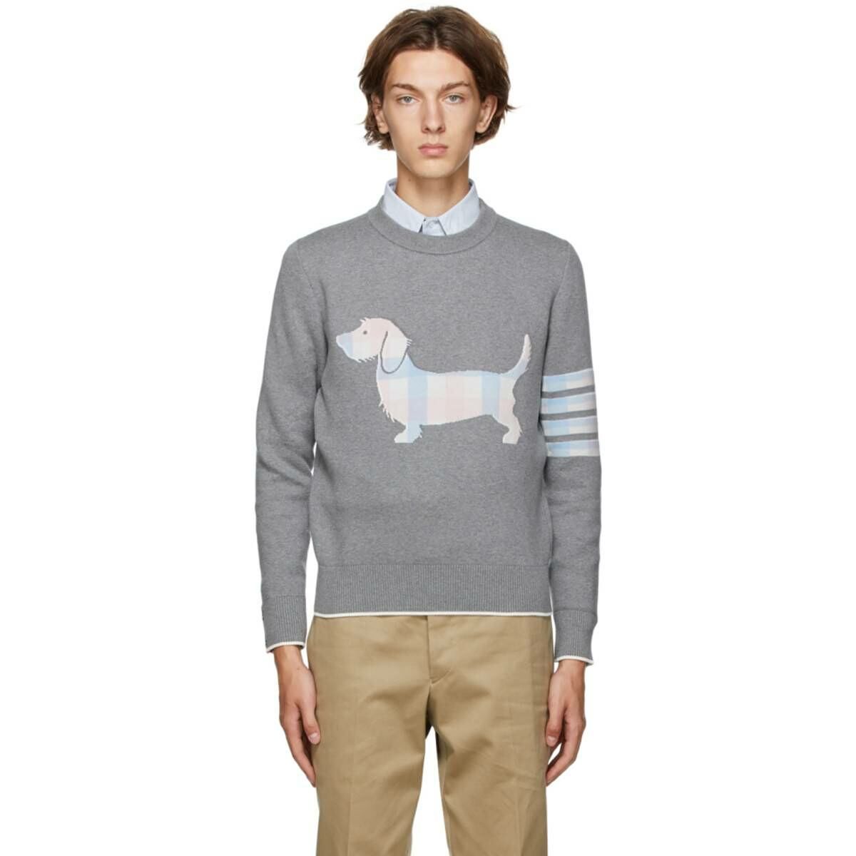 Thom Browne Grey Hector Icon Sweater Ssense USA MEN Men FASHION Mens KNITWEAR