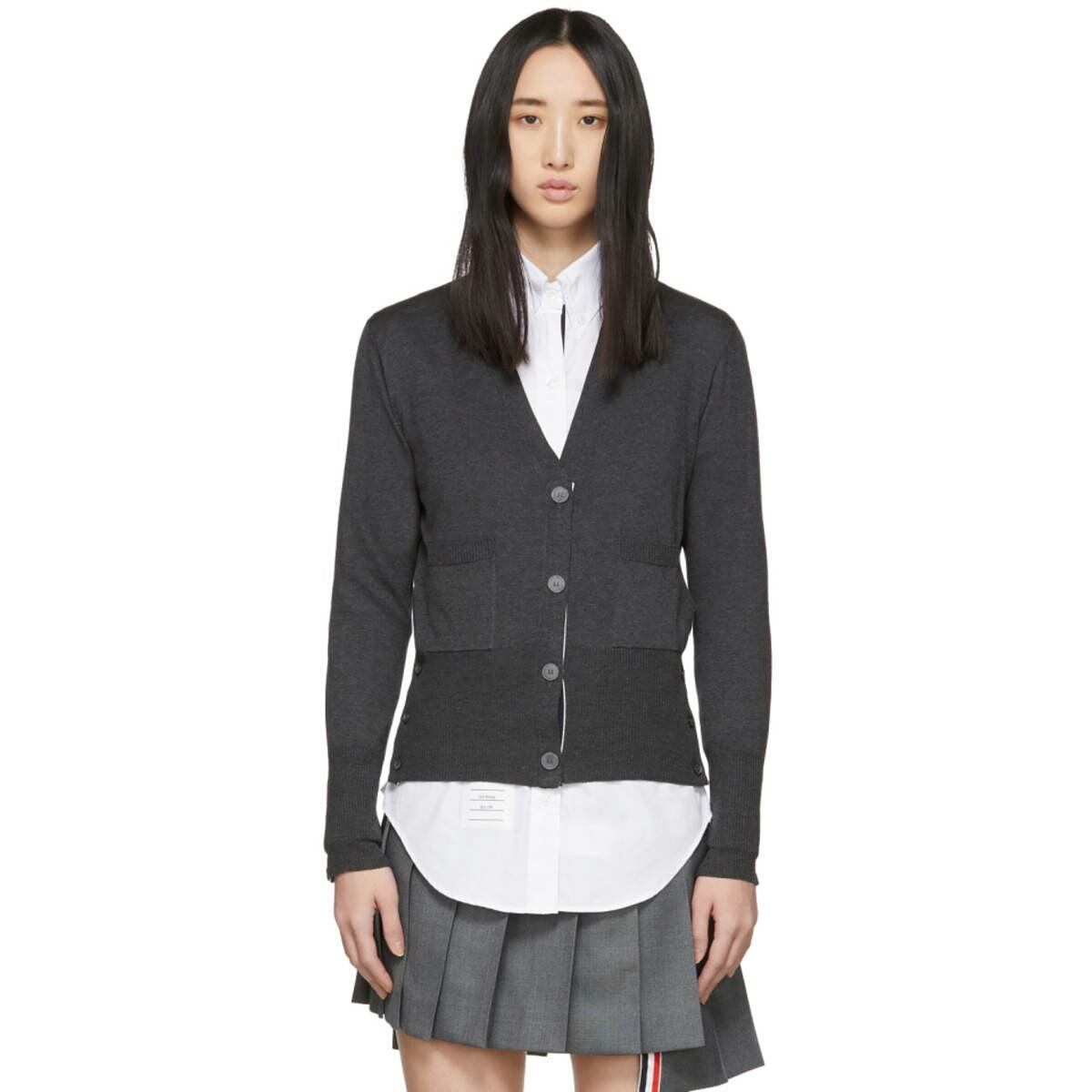 Thom Browne Grey Silk V-Neck Cardigan Ssense USA WOMEN Women FASHION Womens KNITWEAR