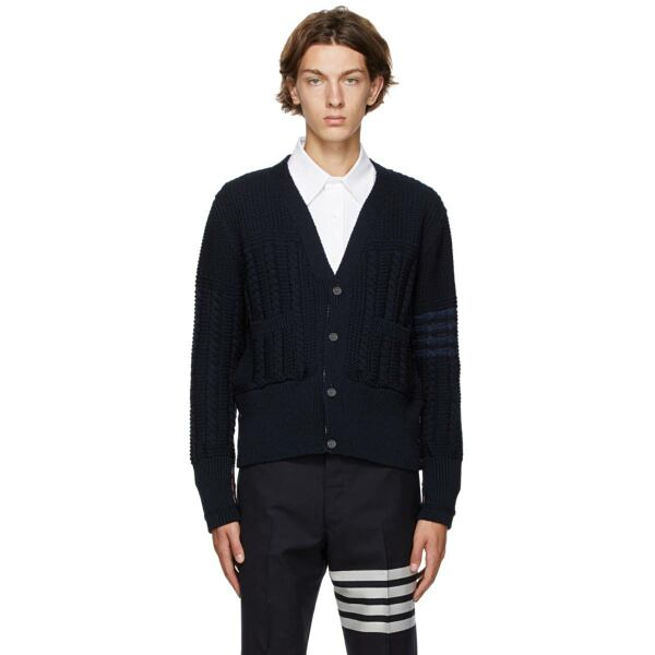 Thom Browne Navy Wool Aran Cable 4-Bar Cardigan Ssense USA MEN Men FASHION Mens KNITWEAR