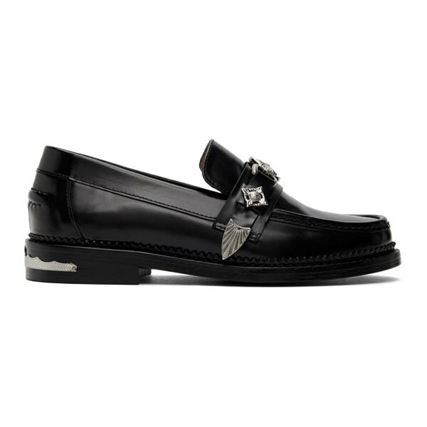 Toga Pulla Black Leather Hardware Loafers Ssense USA WOMEN Women SHOES Womens SLIPPERS