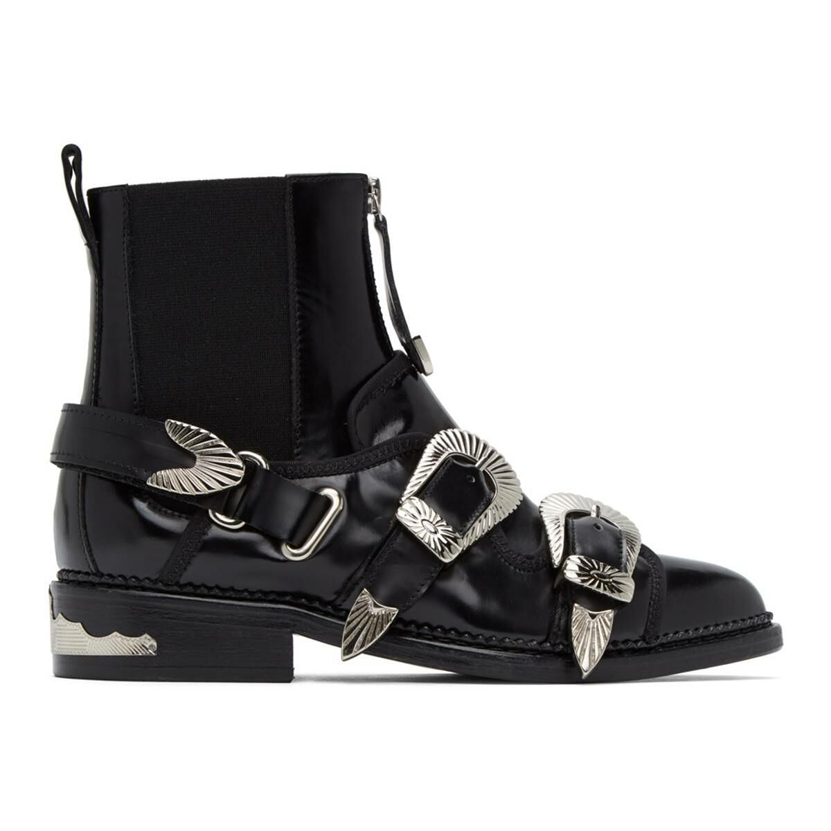 Toga Pulla Black Two Buckle Western Boots Ssense USA WOMEN Women SHOES Womens ANKLE BOOTS