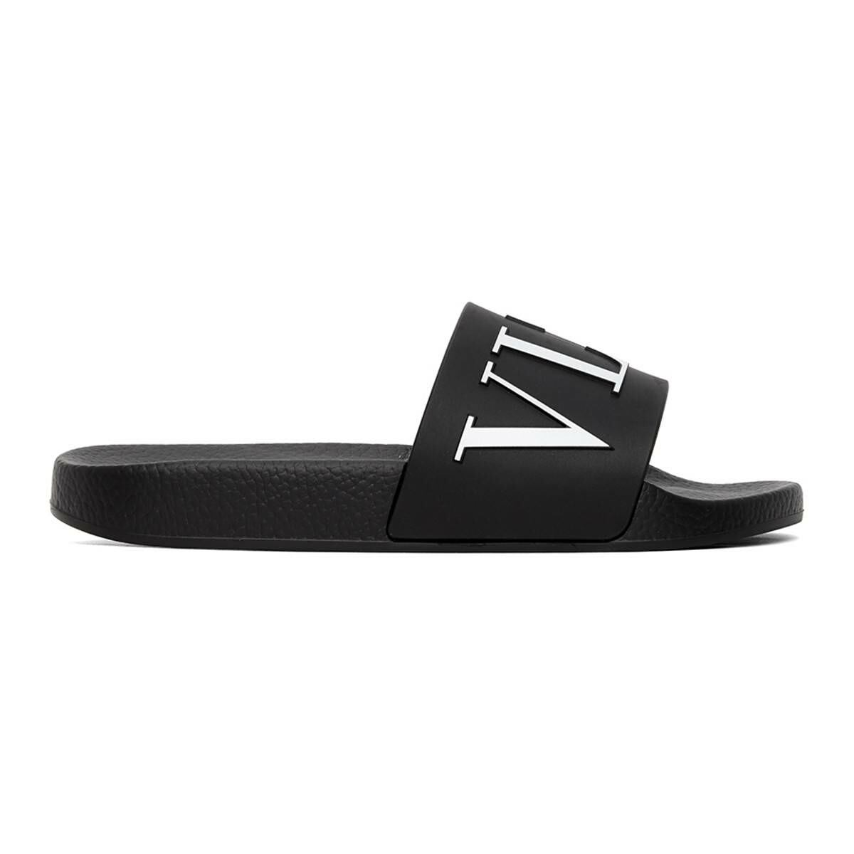 Valentino Black and White Valentino Garavani VLTN Slides Ssense USA MEN Men SHOES Mens SANDALS