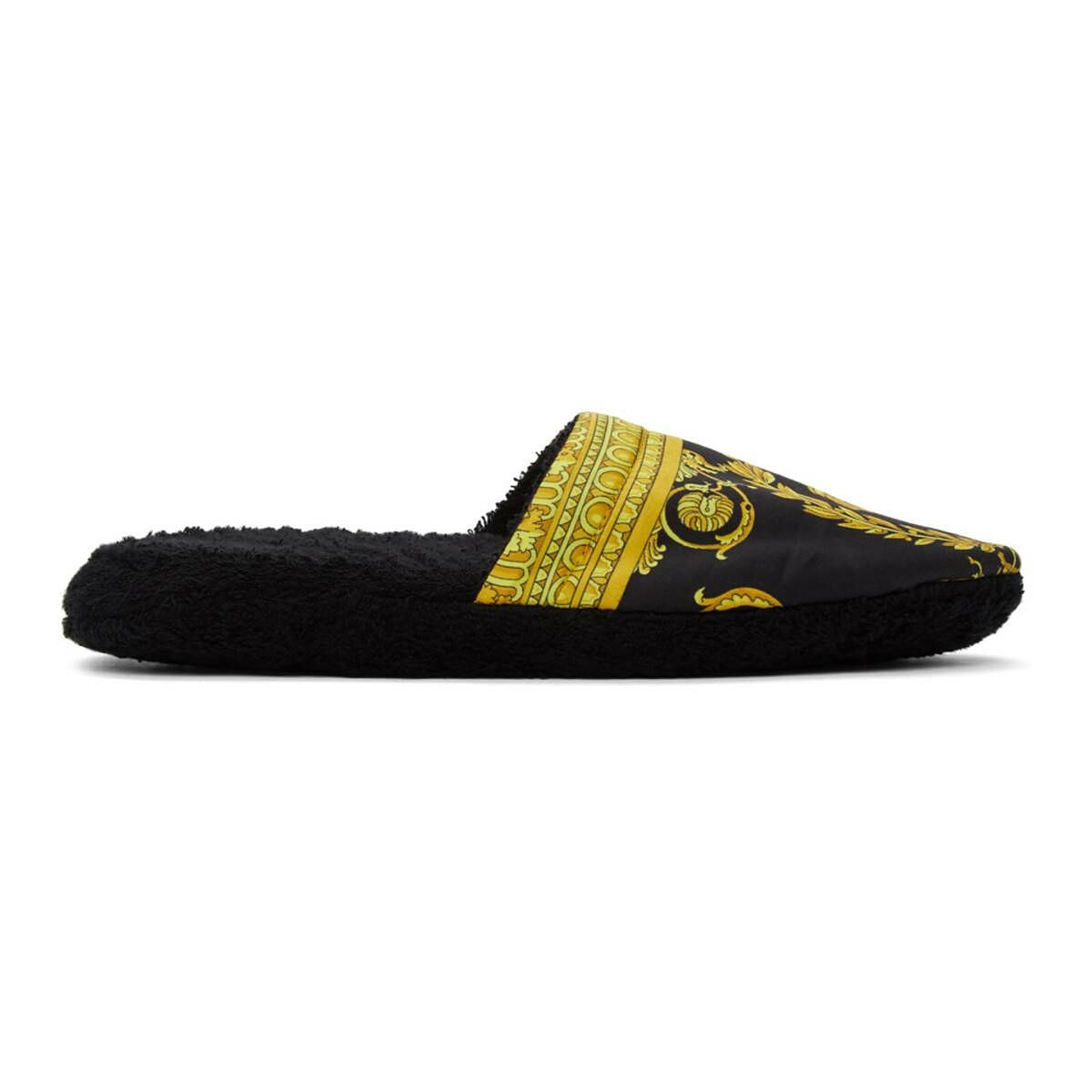 Versace Black Baroque Slippers Ssense USA MEN Men SHOES Mens LOAFERS