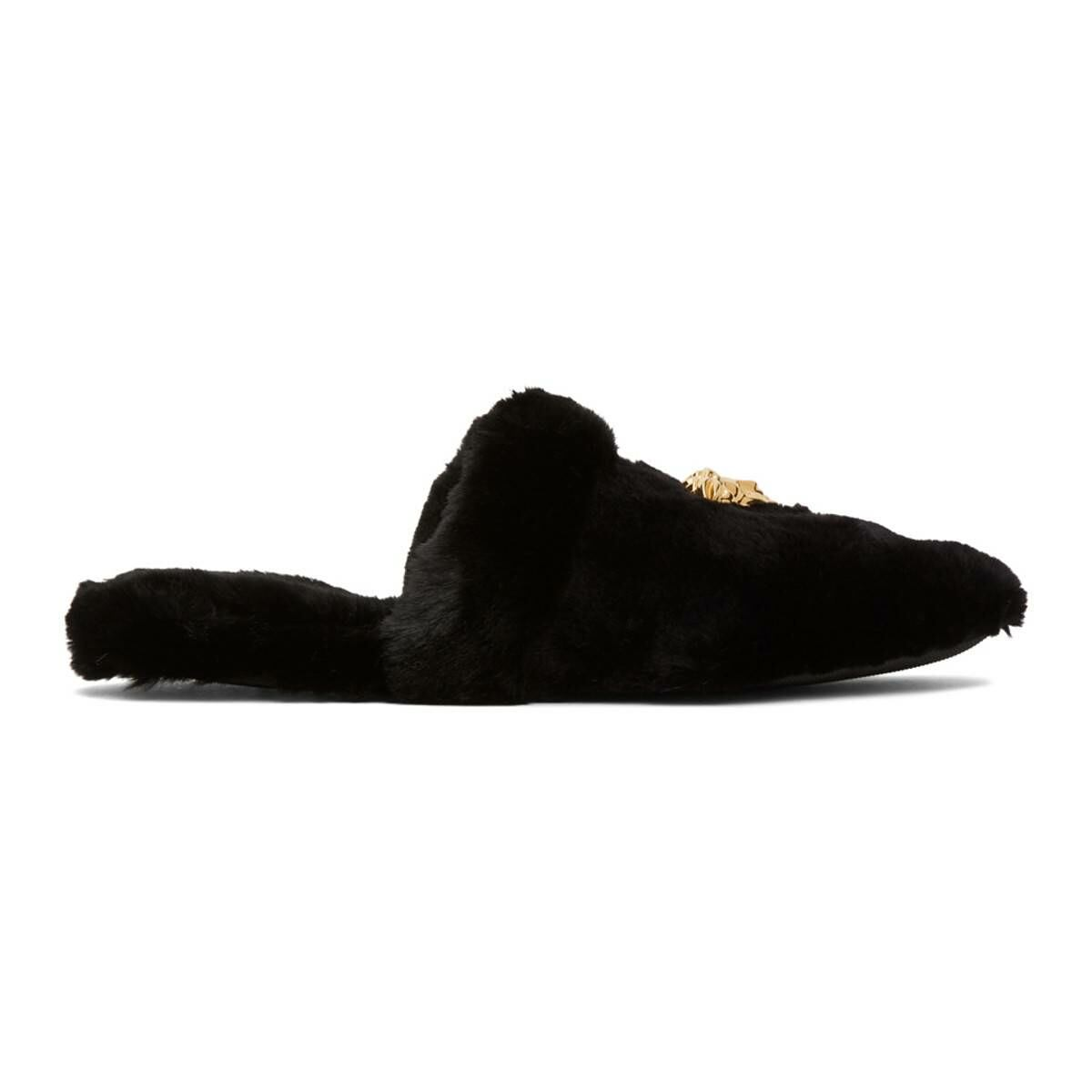 Versace Black Faux-Fur Palazzo Slippers Ssense USA MEN Men SHOES Mens LOAFERS