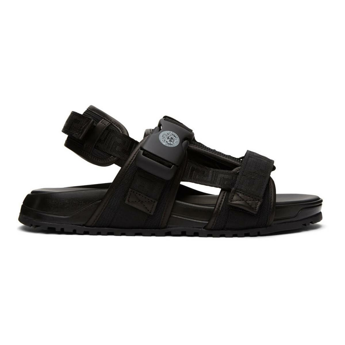 Versace Black Greca Straps Sandals Ssense USA MEN Men SHOES Mens SANDALS