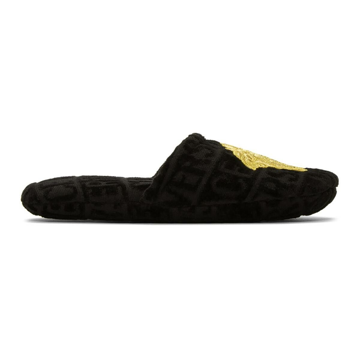 Versace Black Logomania Slippers Ssense USA MEN Men SHOES Mens LOAFERS