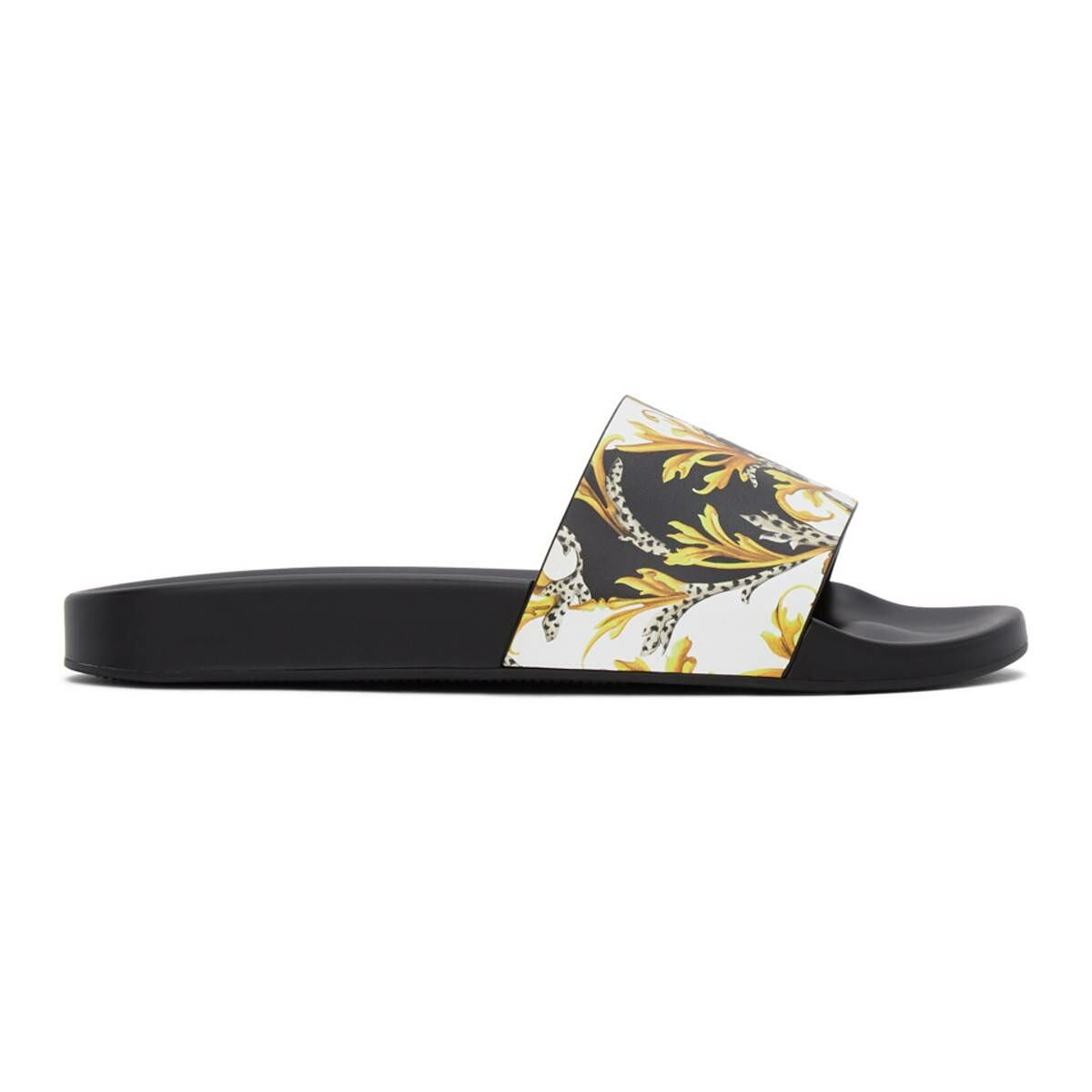 Versace Black and Gold Barocco Slides Ssense USA MEN Men SHOES Mens SANDALS