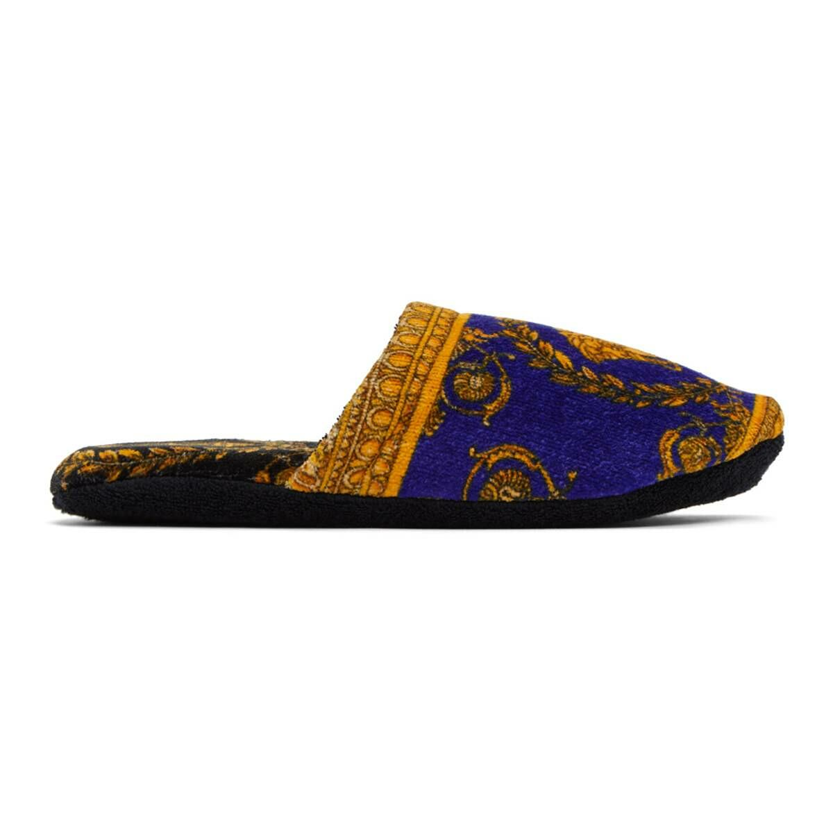 Versace Blue Baroque Slippers Ssense USA MEN Men SHOES Mens LOAFERS