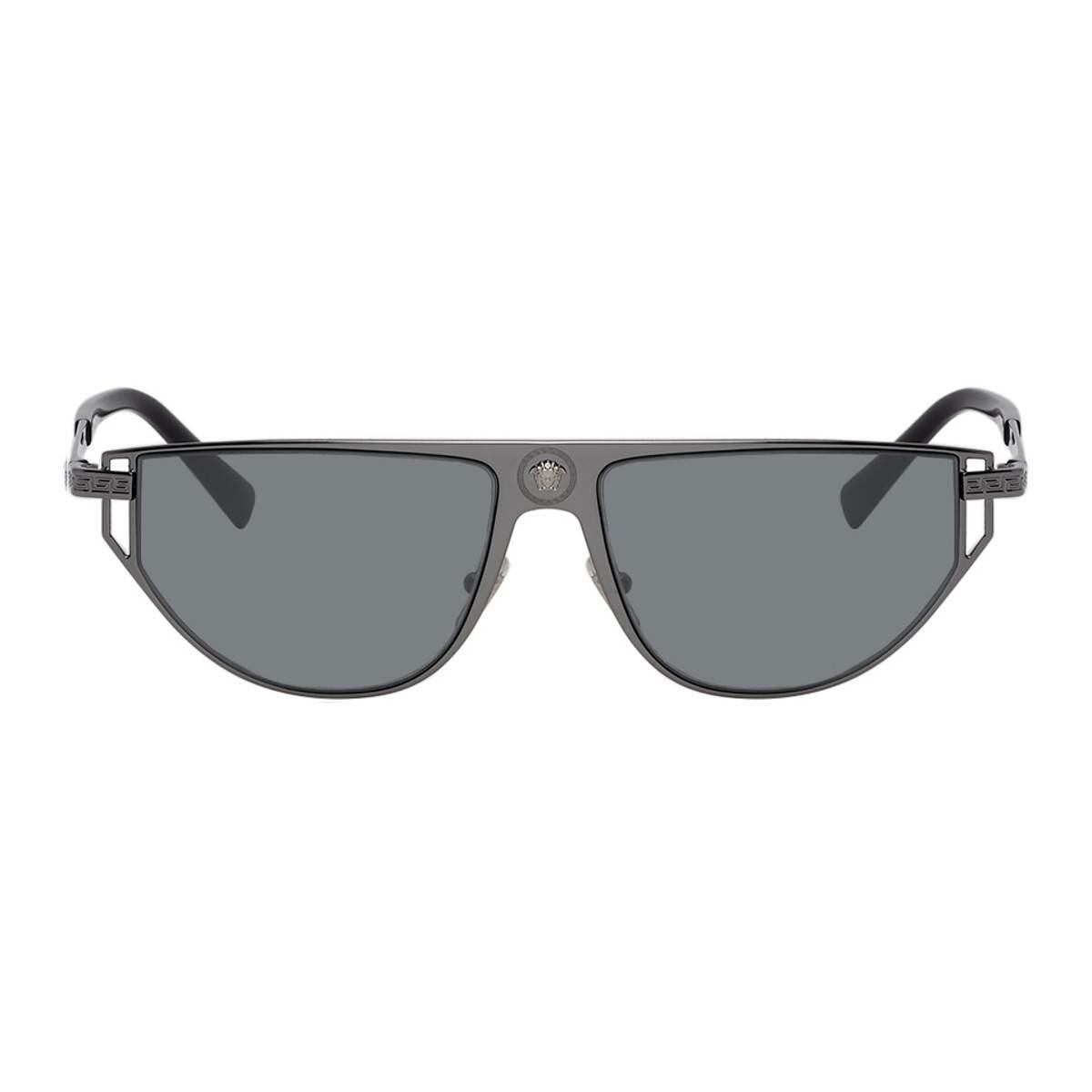 Versace Gunmetal Grecamania Visor Sunglasses Ssense USA MEN Men ACCESSORIES Mens SUNGLASSES