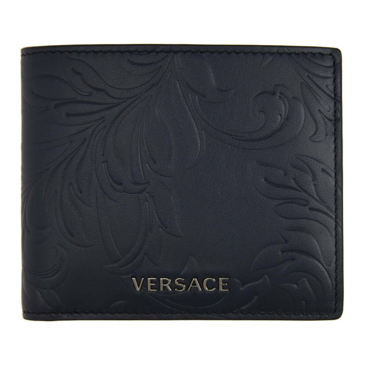 Versace Navy Embossed Barocco Bifold Wallet Ssense USA MEN Men ACCESSORIES Mens WALLETS