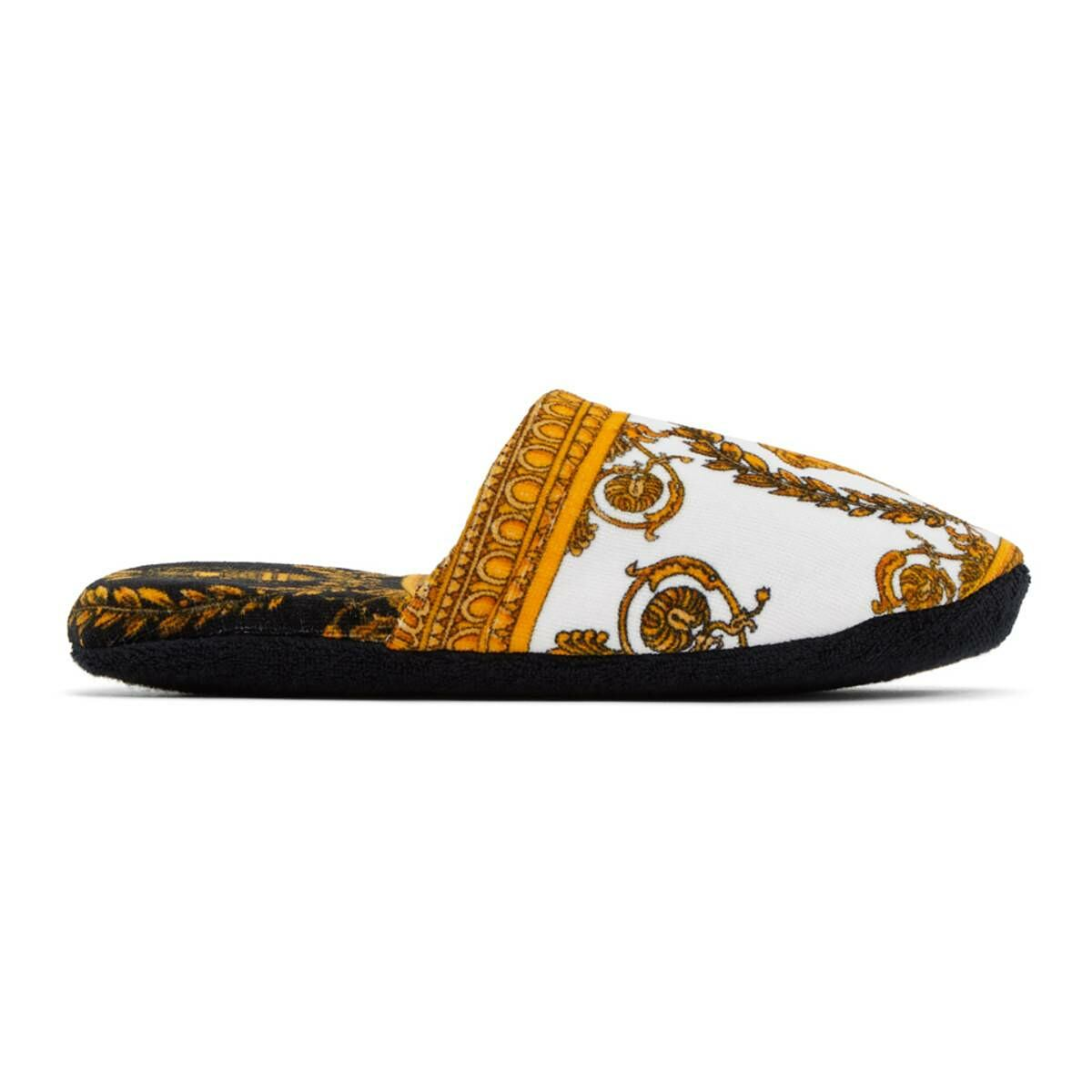 Versace White Baroque Slippers Ssense USA MEN Men SHOES Mens LOAFERS