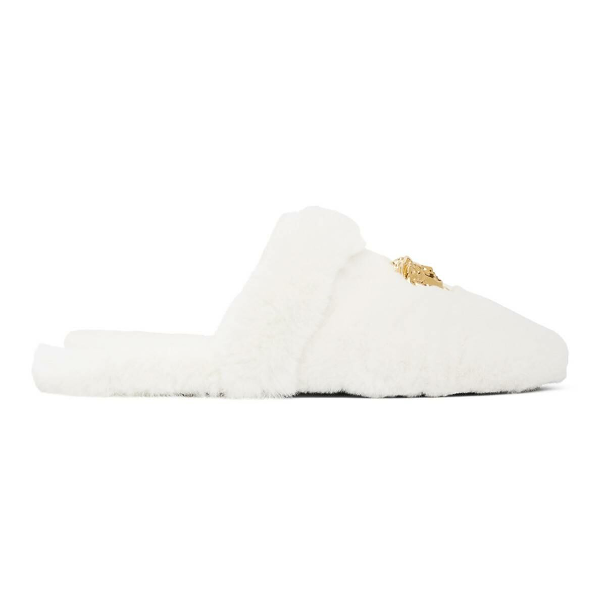Versace White Faux-Fur Palazzo Slippers Ssense USA MEN Men SHOES Mens LOAFERS