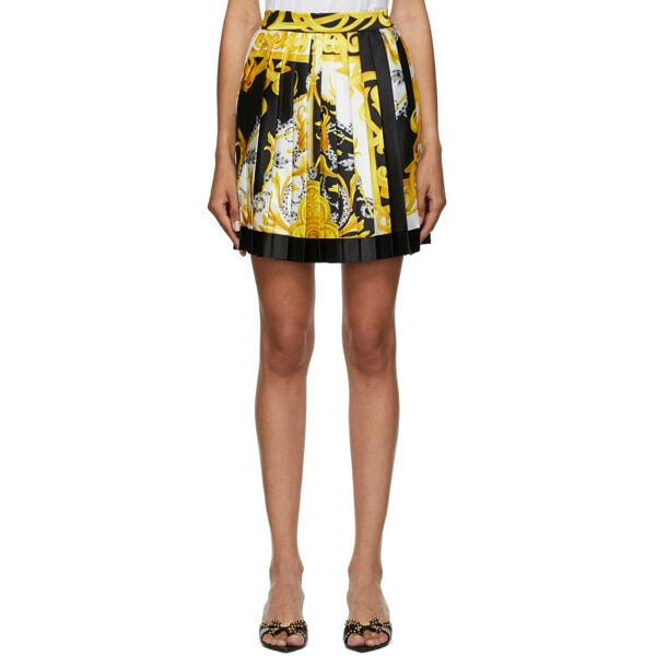Versace White and Gold Pattern Pleated Short Skirt Ssense USA WOMEN Women FASHION Womens SKIRTS