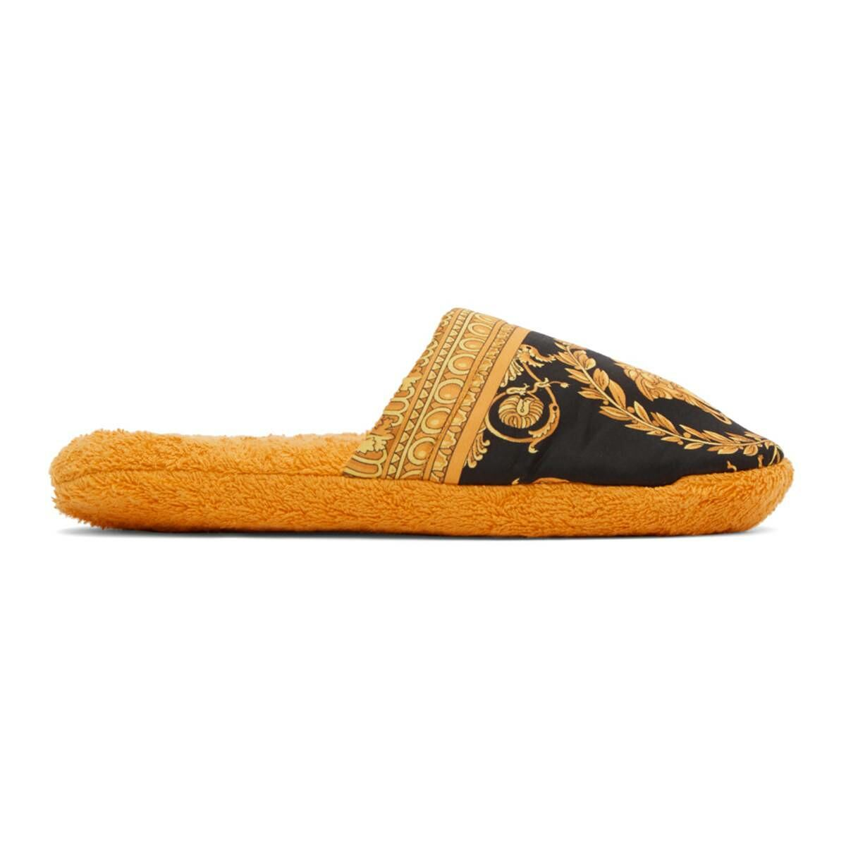 Versace Yellow Baroque Slippers Ssense USA MEN Men SHOES Mens LOAFERS