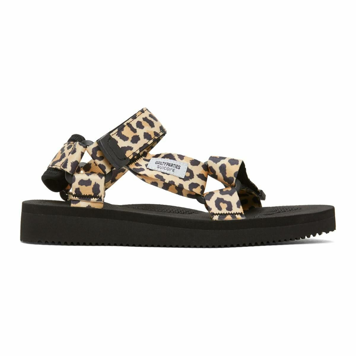 WACKO MARIA Beige and Black Suicoke Edition Leopard Beach Sandals Ssense USA MEN Men SHOES Mens SANDALS
