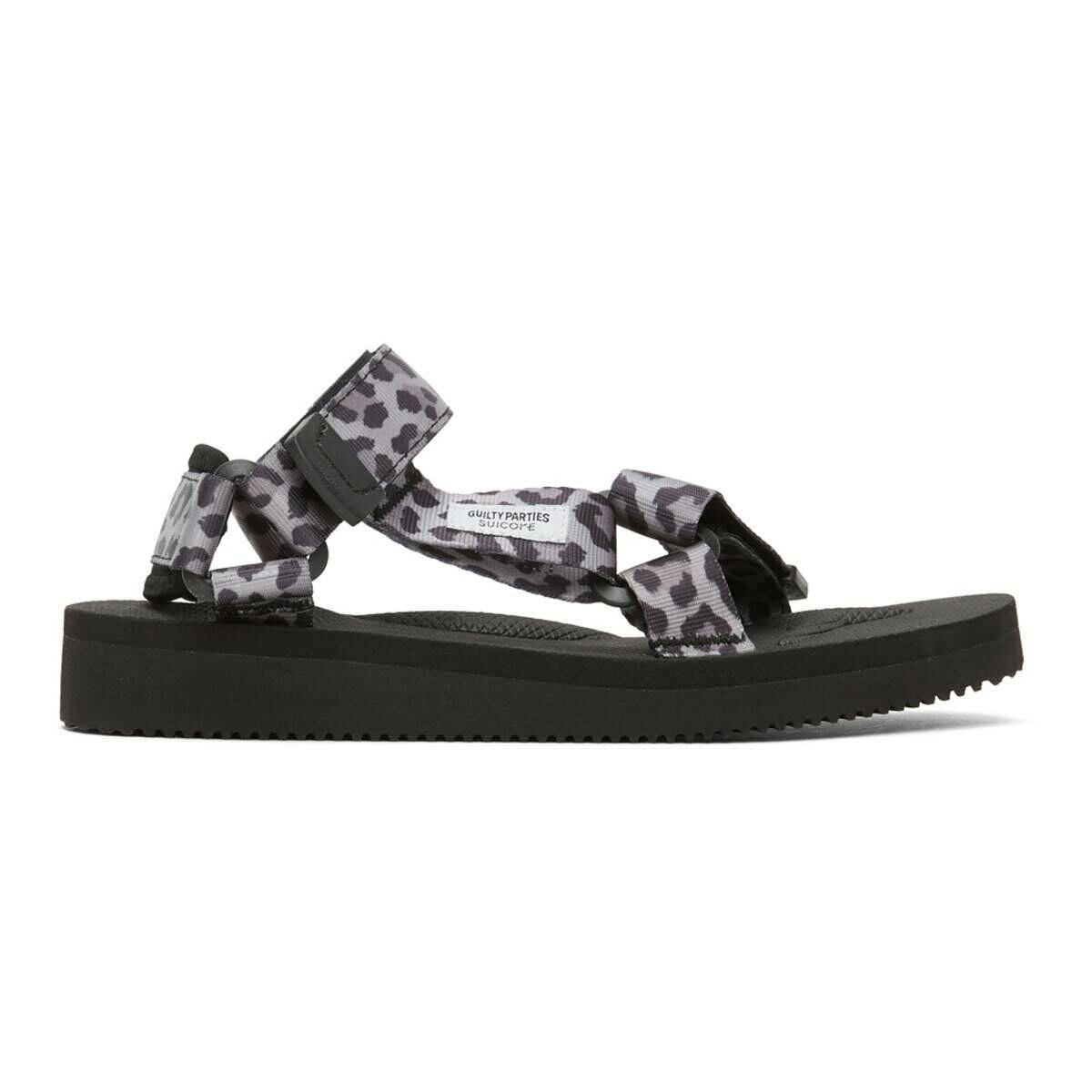 WACKO MARIA Grey and Black Suicoke Edition Leopard Beach Sandals Ssense USA MEN Men SHOES Mens SANDALS