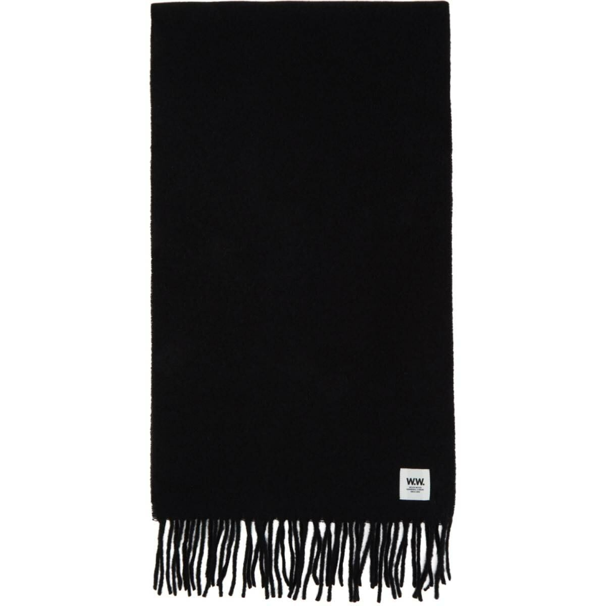 Wood Wood Black Wool Karlo Scarf Ssense USA MEN Men ACCESSORIES Mens SCARFS