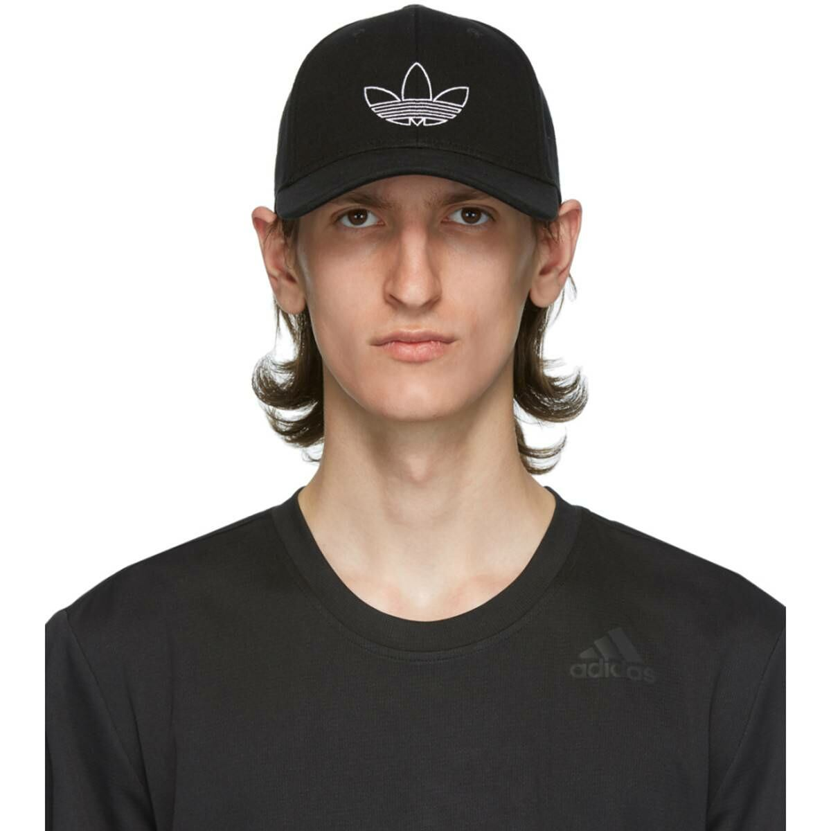 adidas Originals Black Classic Outline Cap Ssense USA MEN Men ACCESSORIES Mens CAPS