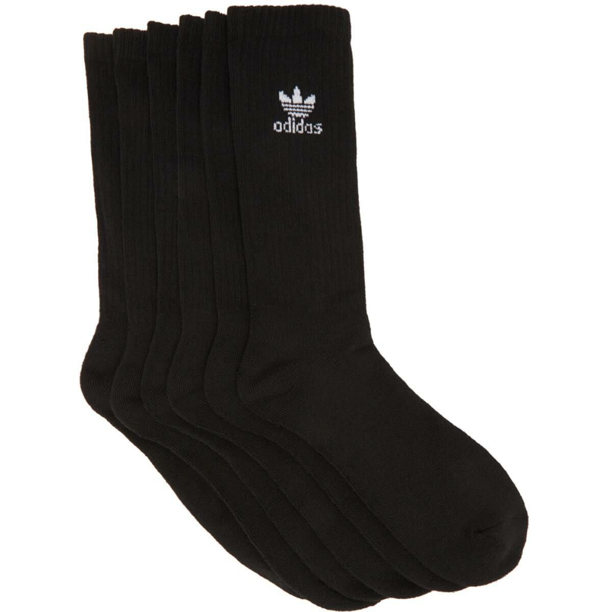 adidas Originals Six-Pack Black Solid Crew Socks Ssense USA MEN Men ACCESSORIES Mens SOCKS