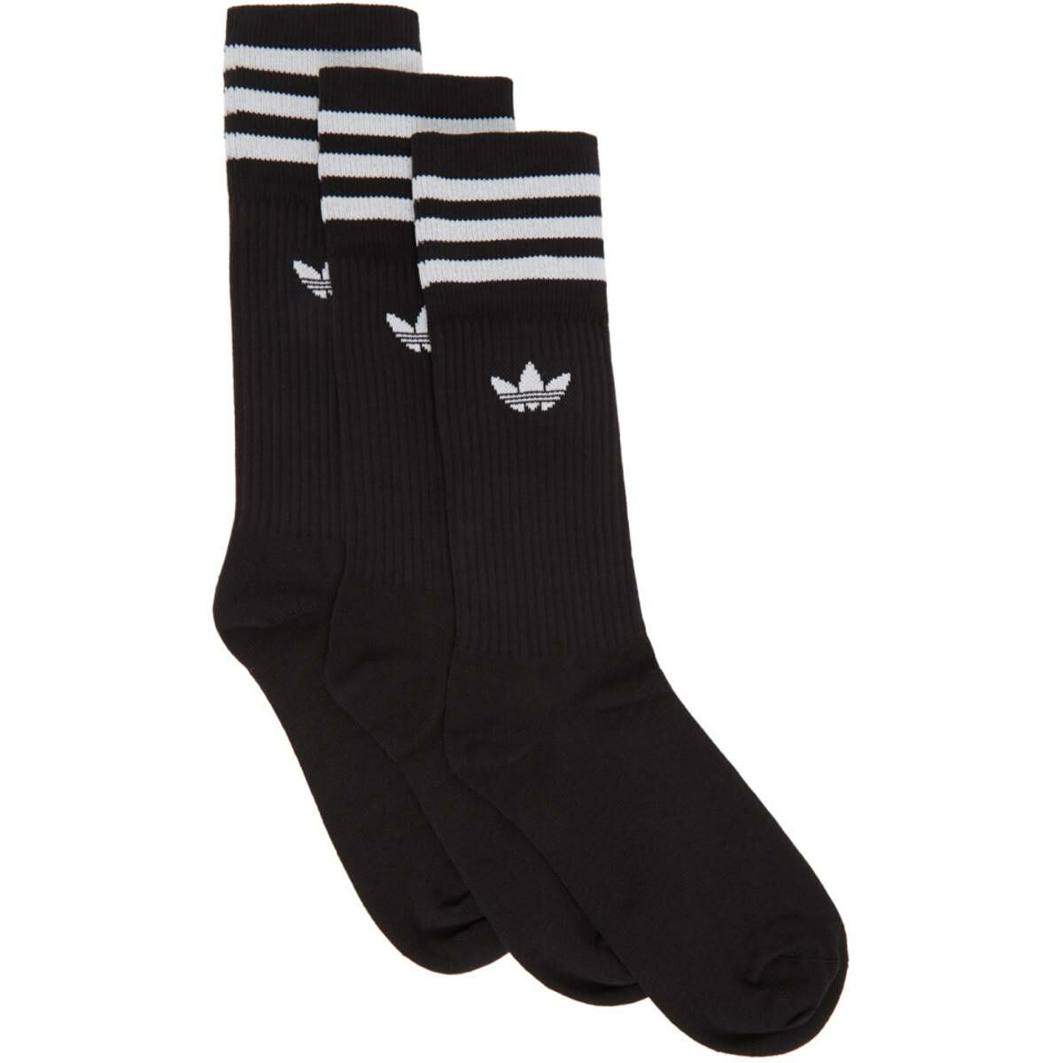 adidas Originals Three-Pack Black Solid Crew Socks Ssense USA MEN Men ACCESSORIES Mens SOCKS