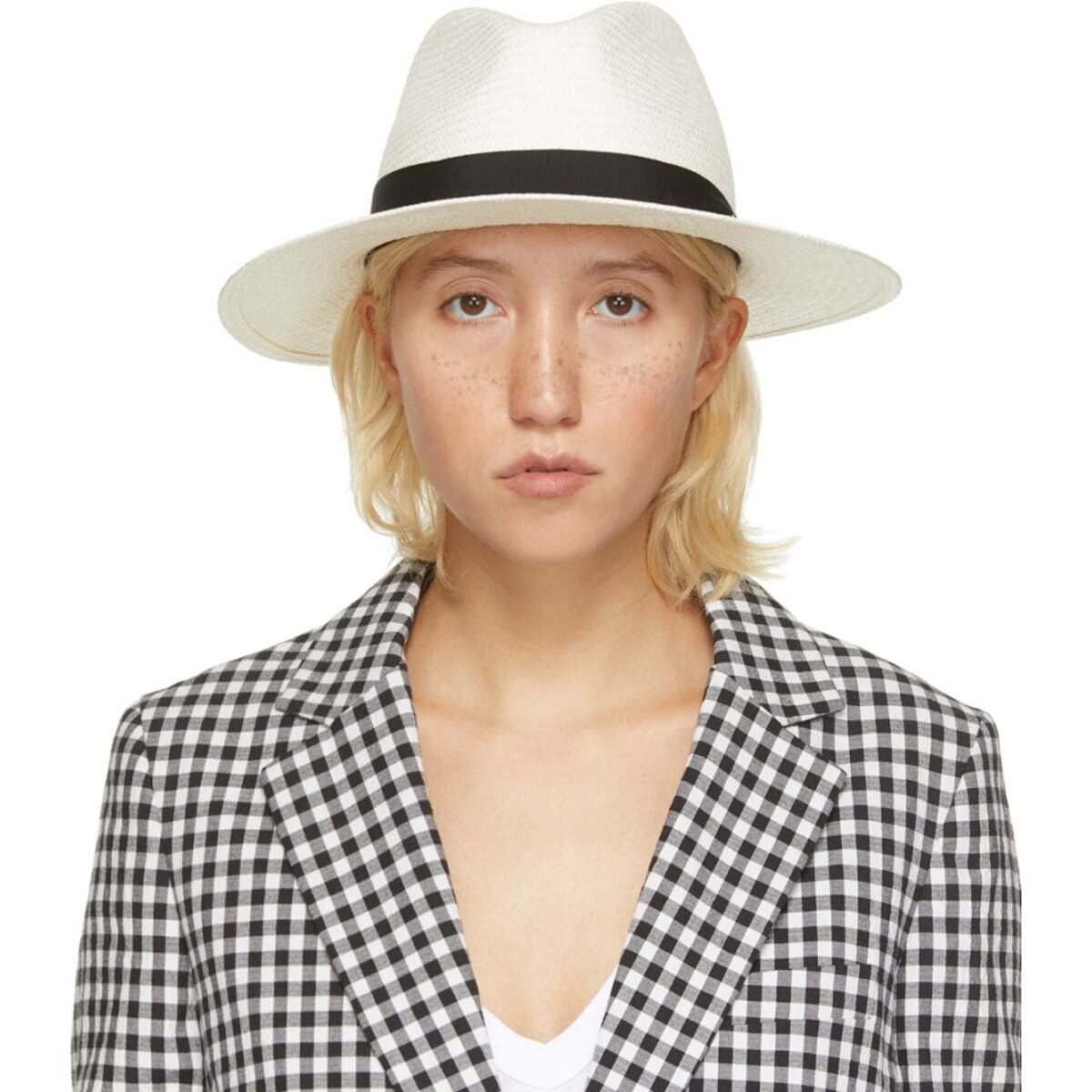 rag and bone White Straw Panama Hat Ssense USA WOMEN Women ACCESSORIES Womens HATS