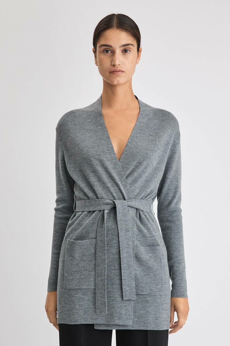 Belted Mid Woman Cardigan Mid Grey Melange WOMEN