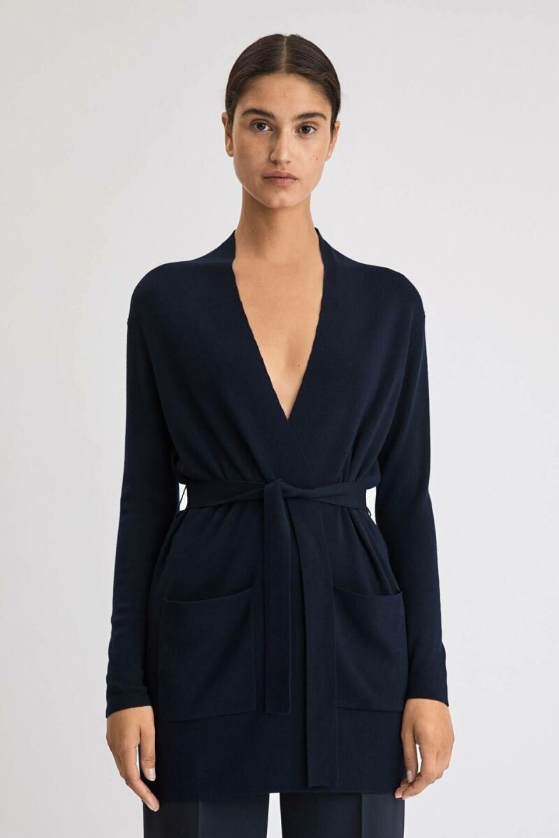 Belted Mid Woman Cardigan Navy WOMEN