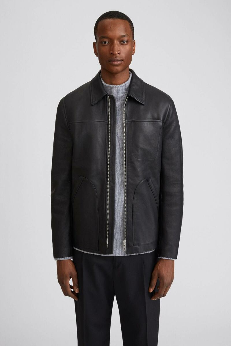Black Ames Men Leather jacket Filippa K NO MEN