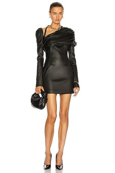 Black LaQuan Smith Ruched Shoulder Leather Dress Forward USA WOMEN