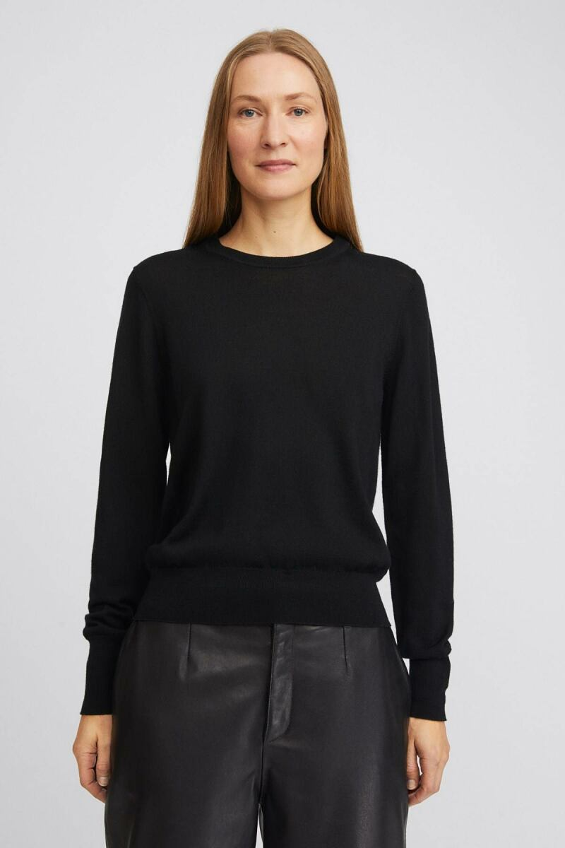 Black Merino Women R-neck Sweater Filippa K NO WOMEN
