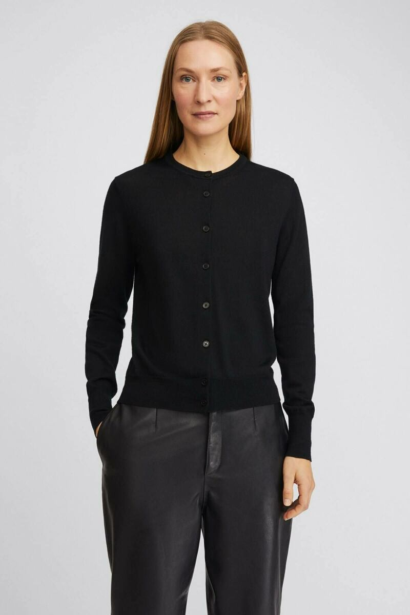 Black Merino Women Short Cardigan Filippa K NO WOMEN