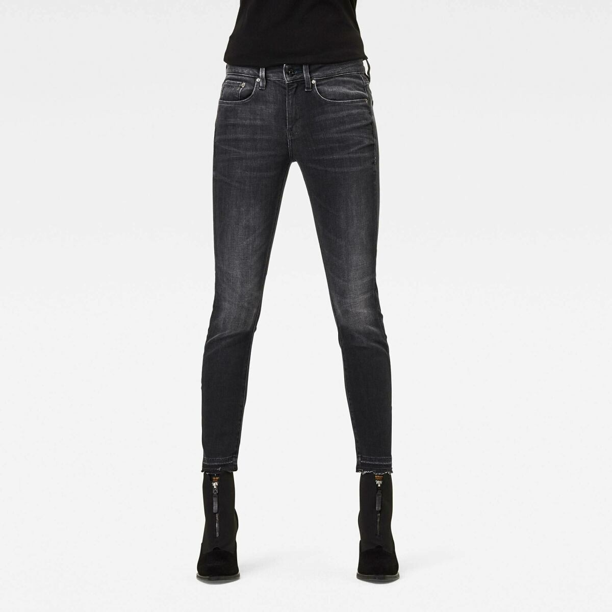 Black Woman Jeans 3301 Mid Skinny Ripped Edge Ankle Jeans G-Star WOMEN