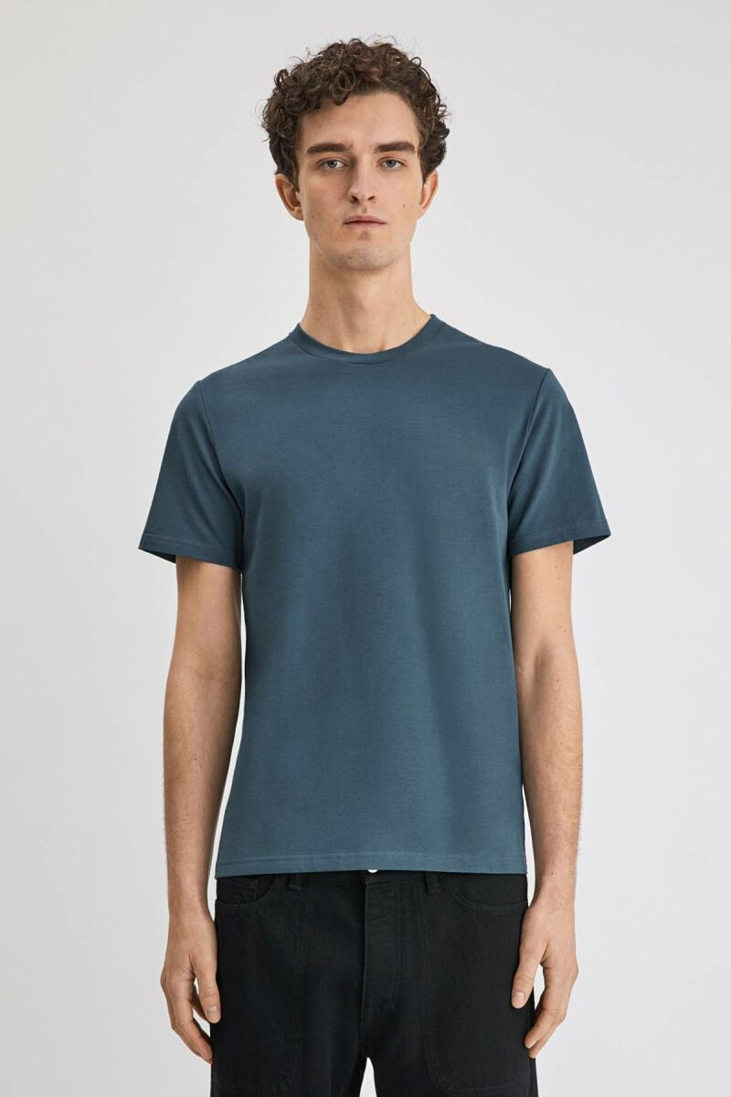 Blue Grey Lycra Men Tee Filippa K NO MEN