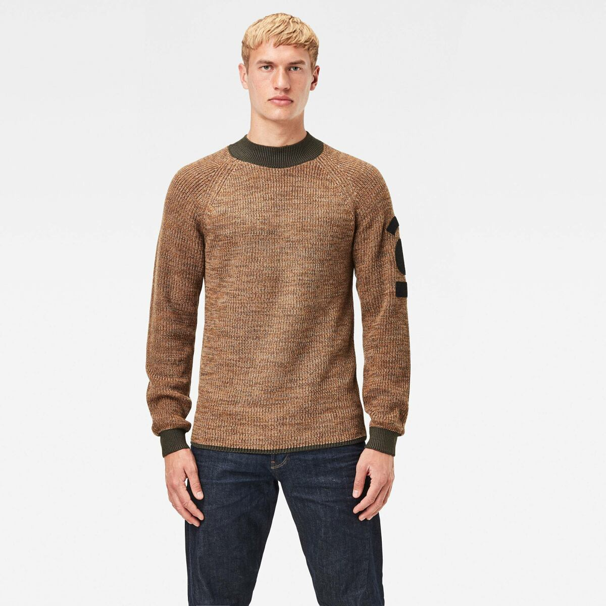 Brown Man Knitwear Army Mock Knitted Sweater Brown G-Star MEN