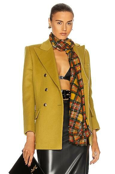 Chartreuse Saint Laurent Double Breasted Blazer Forward USA WOMEN