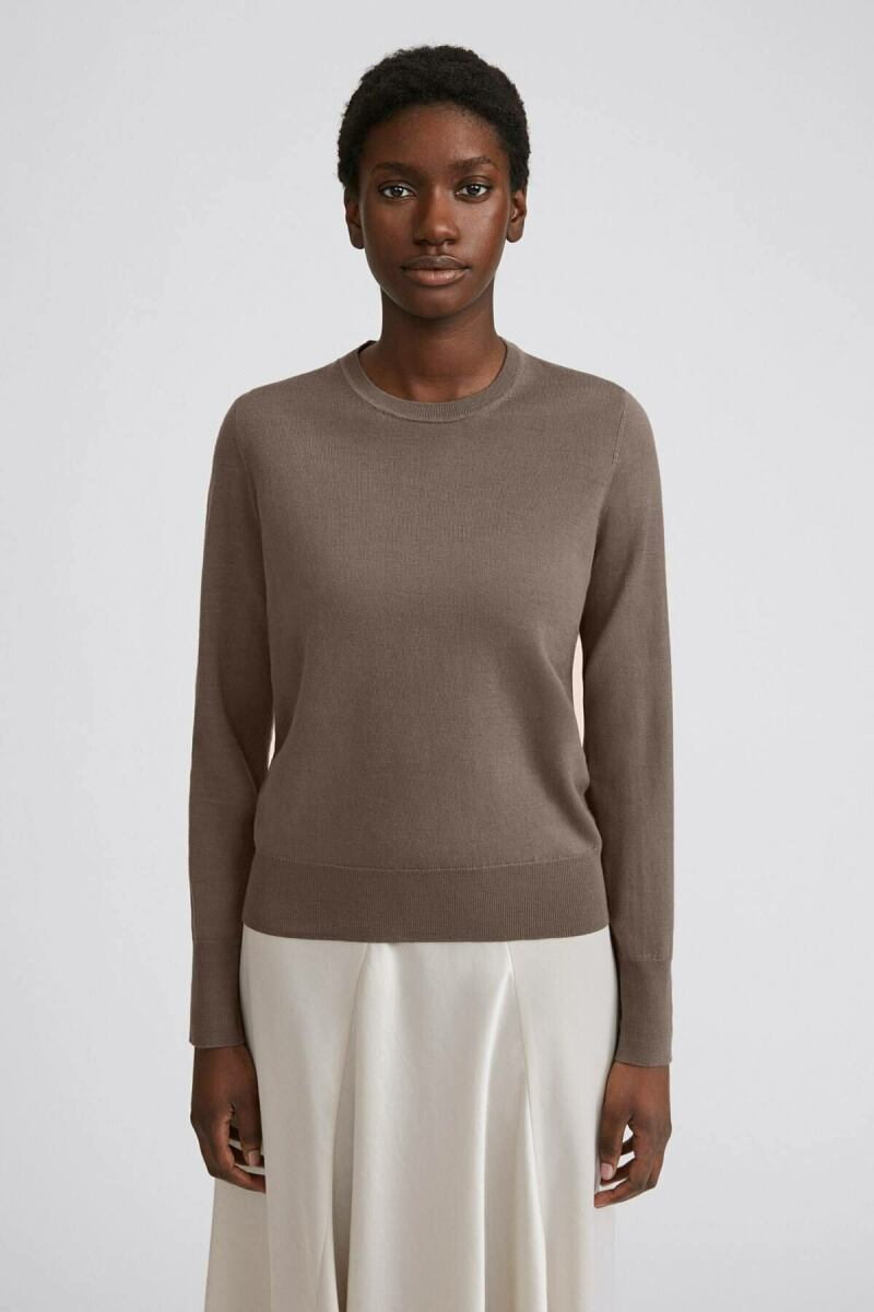 Dark Taupe Merino Women R-neck Sweater Filippa K NO WOMEN