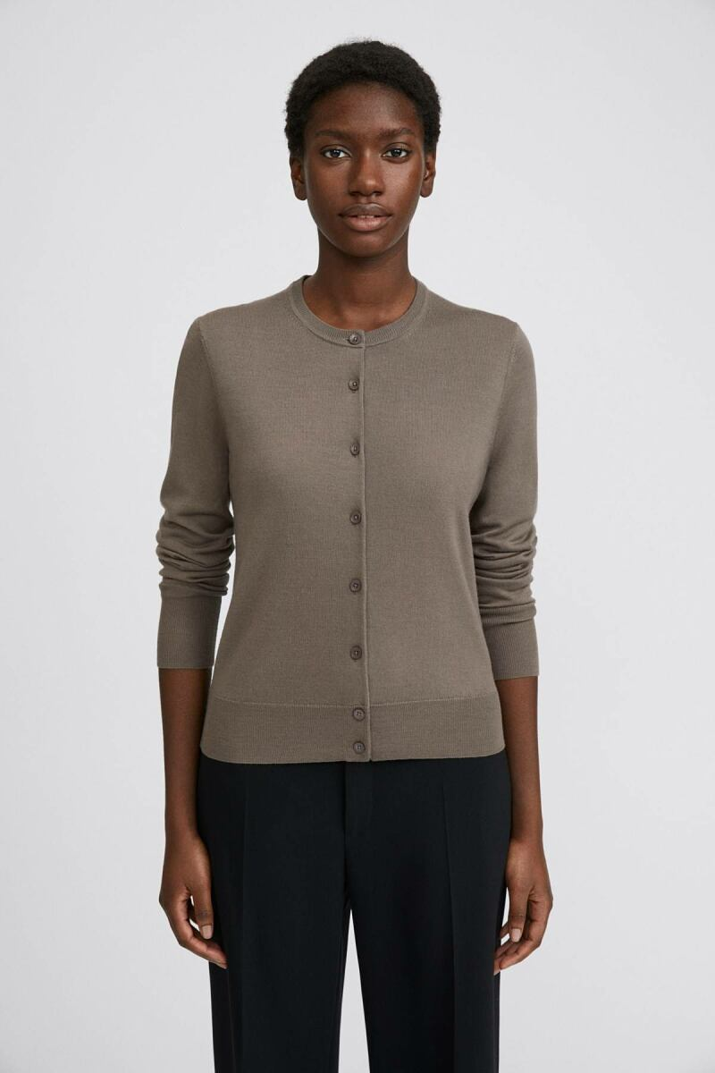 Dark Taupe Merino Women Short Cardigan Filippa K NO WOMEN