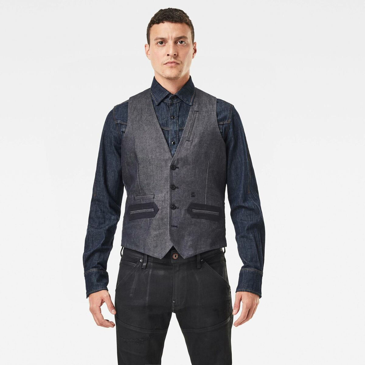 Dark blue Man Jackets and Blazers Tuxedo Waistcoat G-Star MEN