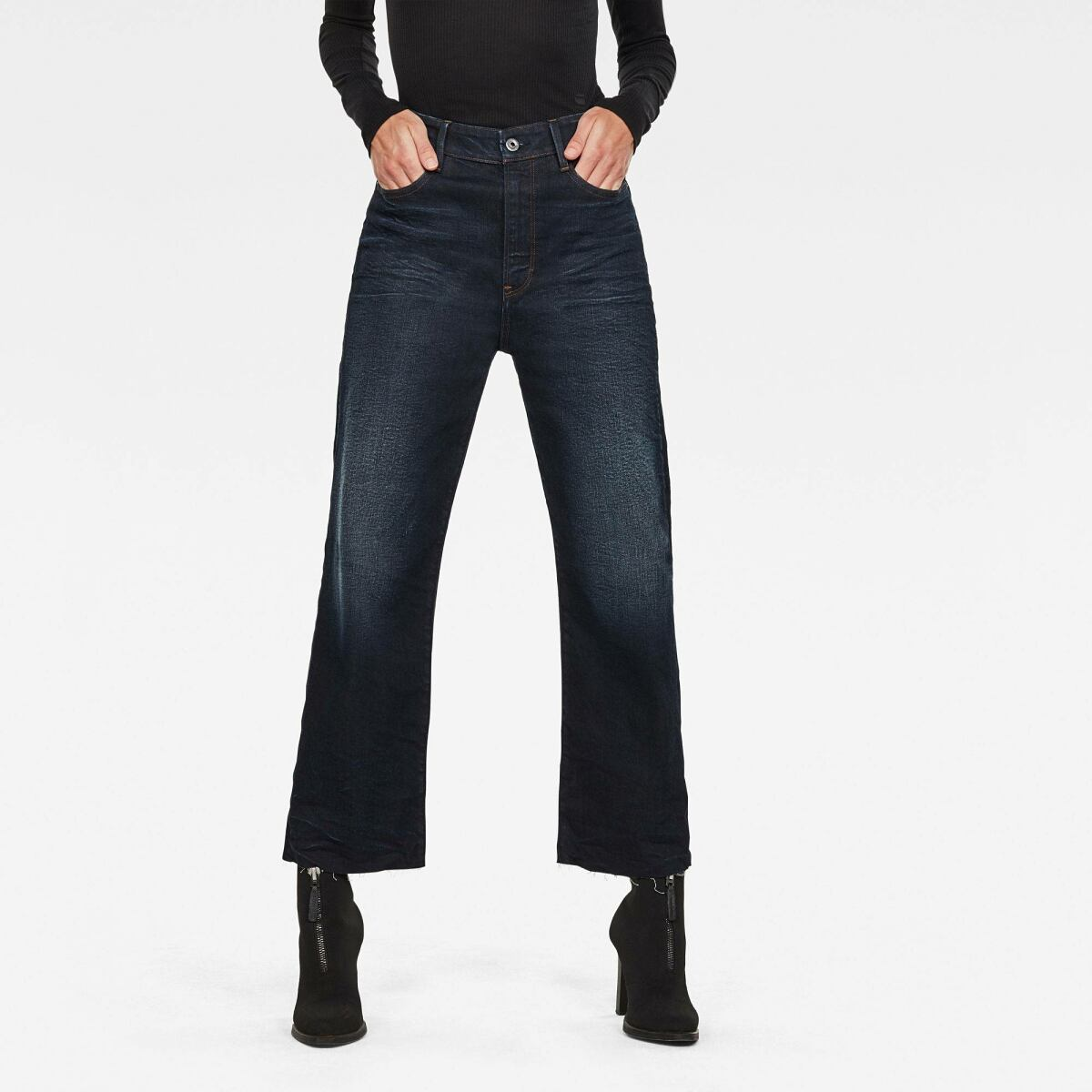 Dark blue Woman Jeans Tedie Ultra High Straight RP Ankle Jeans G-Star WOMEN