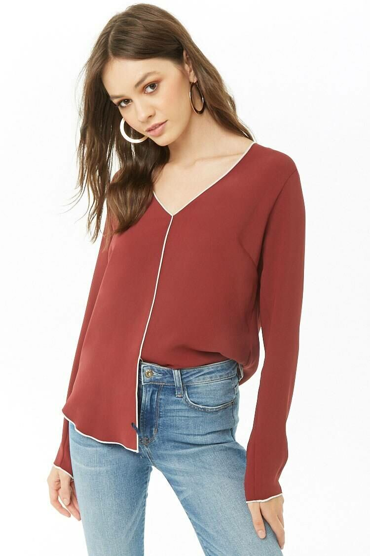 Forever 21 Amber/Ivory Topstitch-Trim Split-Front Top WOMEN Women FASHION Womens TOPS