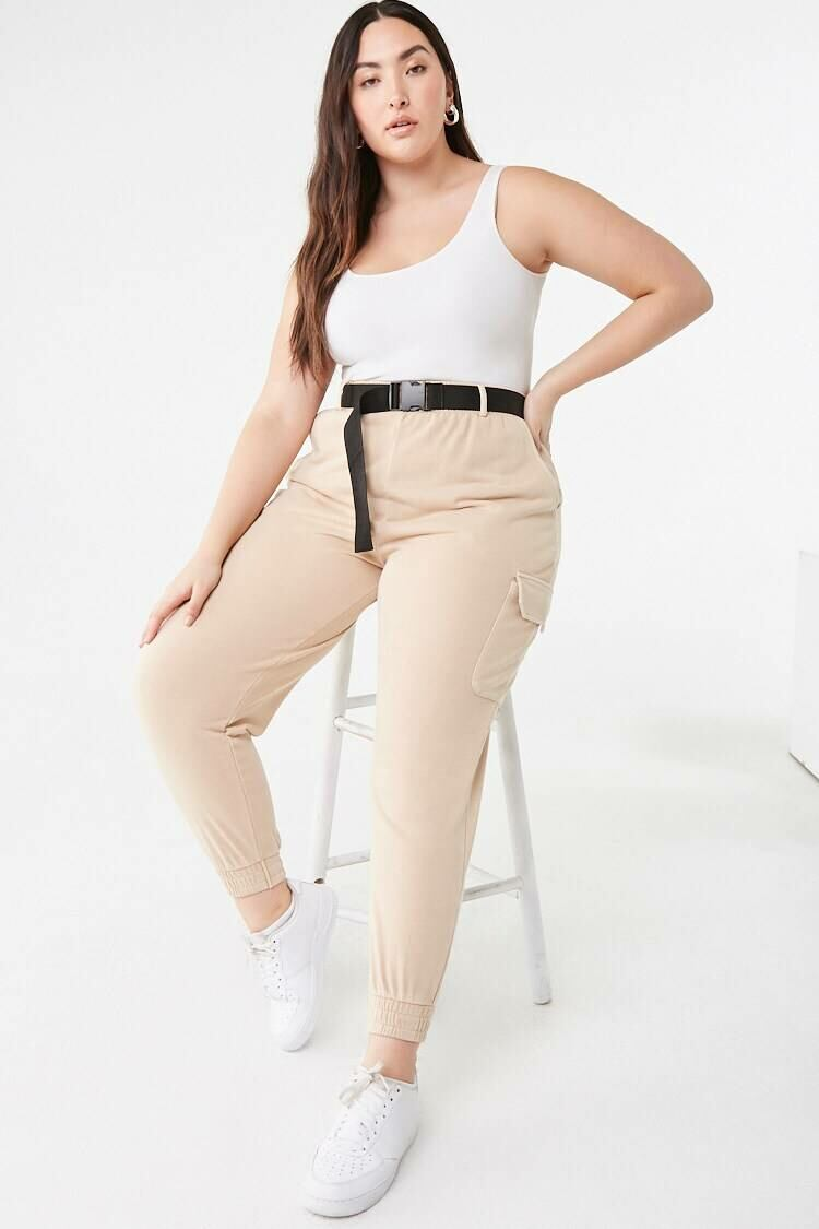 Forever 21 Beige Plus Size Belted Cargo Joggers WOMEN Women FASHION Womens TROUSERS