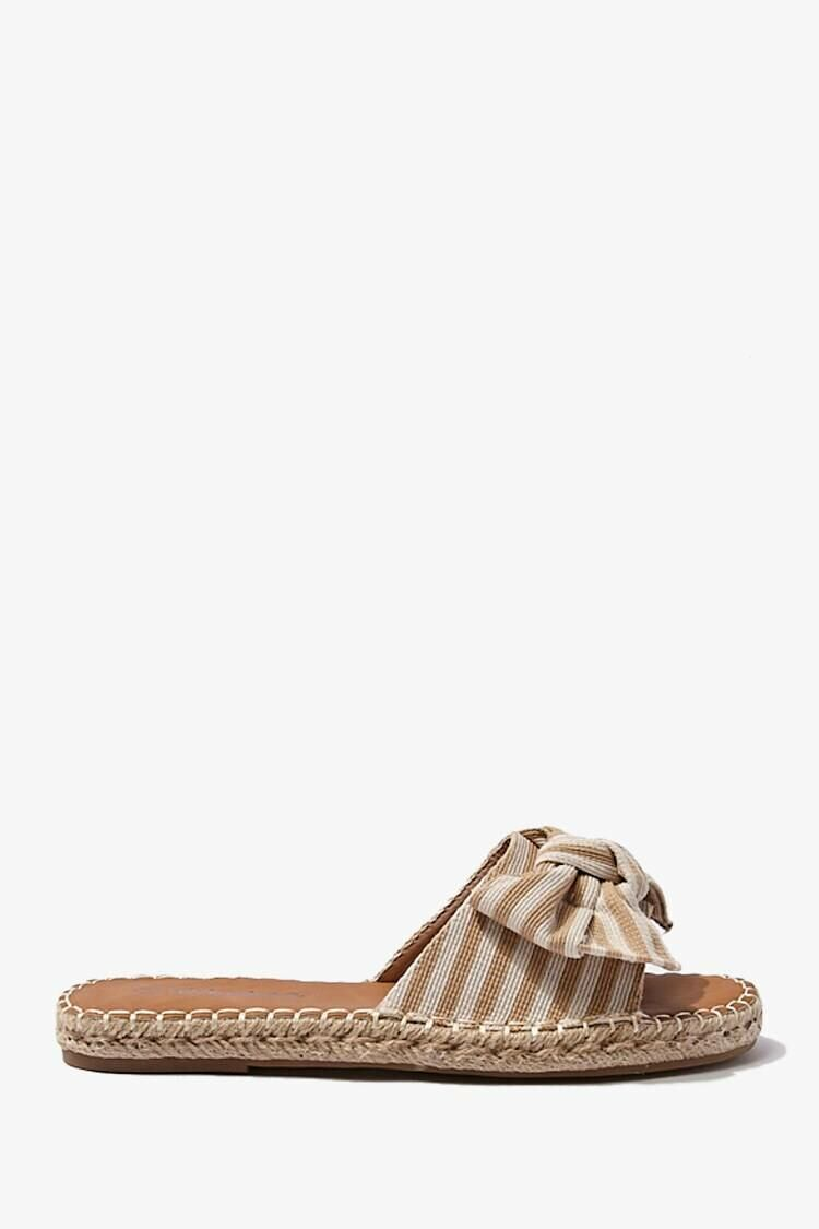 Forever 21 Beige Striped Knotted Bow Sandals WOMEN Women SHOES Womens SANDALS