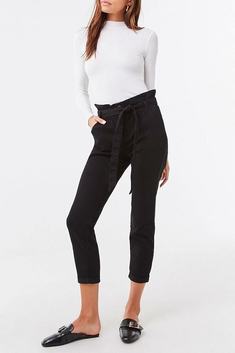 Forever 21 Black Belted Paperbag Pants WOMEN Women FASHION Womens TROUSERS