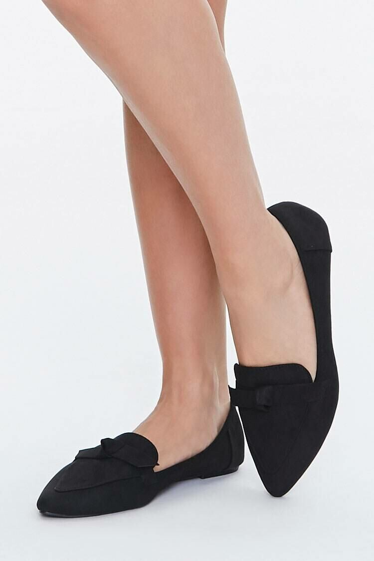 Forever 21 Black Bow Faux Suede Loafers WOMEN Women SHOES Womens FLAT SHOES