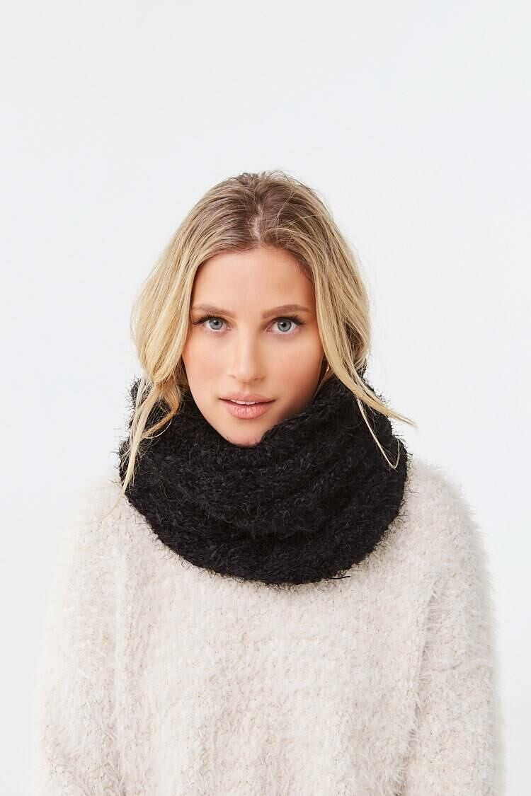 Forever 21 Black Brushed Chenille Infinity Scarf WOMEN Women ACCESSORIES Womens SCARFS